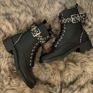 Zara genuine leather studded combat boots